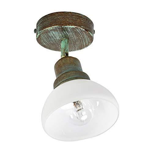 Lampenwelt Strahler'Olav' dimmbar (Retro, Vintage, Antik) in Bronze aus Metall u.a. für Wohnzimmer...