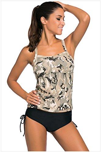 MEINICE Damen Bikini-Set Gr. Medium, khaki (Cropped Pant Floral Set)