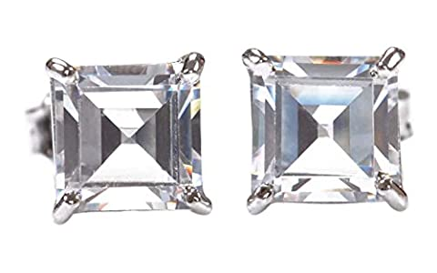 3.20 CARATS SQUARE SHAPE 14KT WHITE GOLD MAN-MADE/SIMULATED DIAMOND SOLITAIRE CLASSY EARRINGS