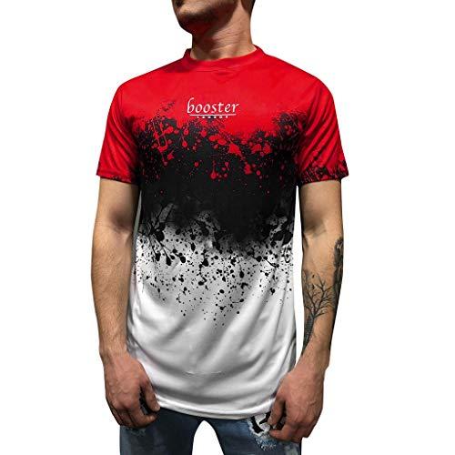 rt, Kurzarm Top Shirt Schlafanzugoberteil Sommer Brief drucken Slim Fit Rundhals Shirt Bluse ()