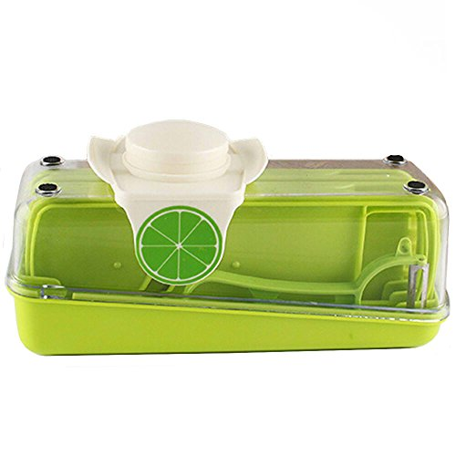 GOOTRADES Gemüse Schneider Set Einstellbare Mandolinen Schneidemaschine Mit Eingebauklinge Reibe Koffer 3 Klingen Küchenwerkzeuge
