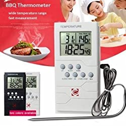 Stainless Steel BBQ Thermometer Probe Timer Barbecue Baking Food Timer Thermometer Temperature