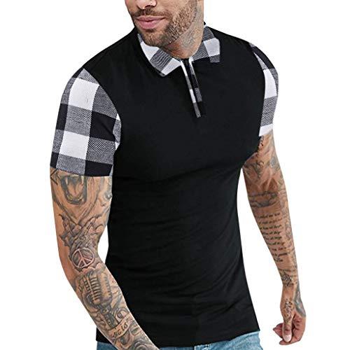 CICIYONER Herren Poloshirts polohemd Männer Kurzarm Polo Shirts Slim Fit Zipper Plaid Polo T Shirts Rot schwarz S M L XL XXL