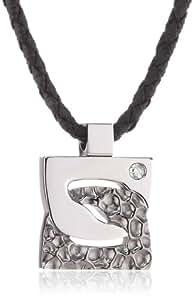 Morellato - S01I202 - Shade - Collier Femme - Pendentif carré en acier gris et noir avec 1 diamant - Cordon noir