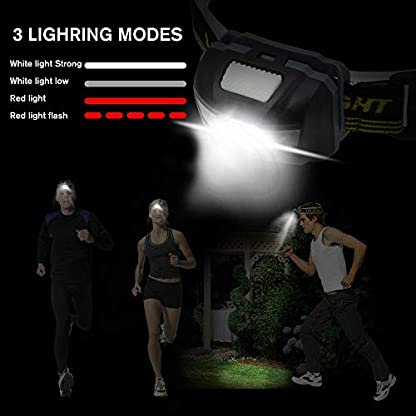 Blinkle Head Torch Ultra Bright Headlamps CREE LED 4 Modes Headlamp with Red Headlight Waterproof AAA Battery Powered for Running Camping Reading DIY 4