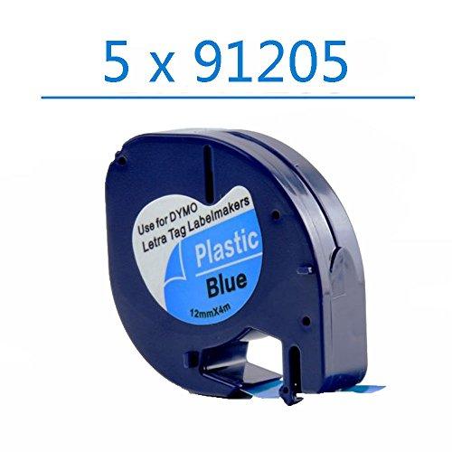 Oyat® 12mm x 4m Schriftband Etikettenband kompatibel für Dymo LetraTag 91205 S0721650 schwarz auf blau für Dymo LetraTag LT-100H LT-100T LT-110T QX 50 XR XM 2000 (5x schwarz auf blau)