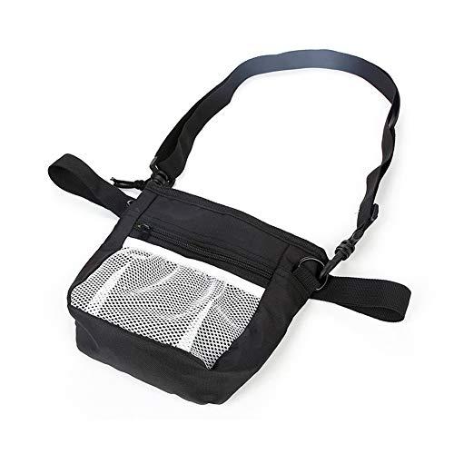 Enjoyfeel Dog Treat Bag mit integriertem Poop Bag Dispenser, Puppy Pet Training Walking Pouch mit verstellbarem Hüftgurt & Schultergurt (Black) -