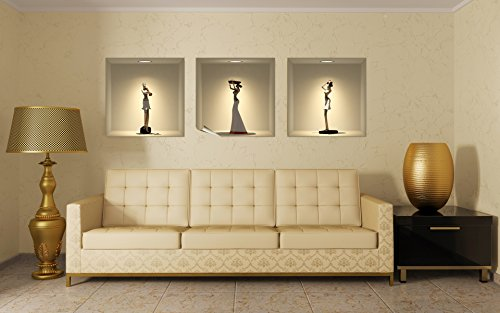 Ambiance-Live col-3d-africans adhesivo de efecto 3d statues africanas, multicolor