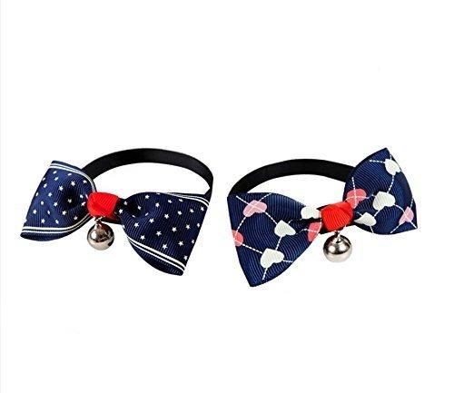 Fully 2 Stil Verstellbar Hunde Halsband Schleife Fliege Hundeschleife Krawatte mit Glocken (Stern&Herz)