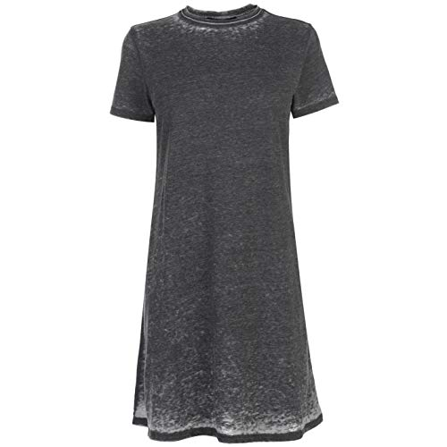 Firetrap Blackseal Damen T Shirt Kleid Kurzarm Rundhals Grau Wash XS