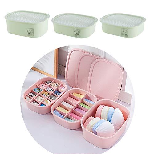 ZUEN Unterwäsche Aufbewahrungsbox Mit Deckel, Schublade Aufbewahrungsbox Unterwäsche Box Für Socken Höschen BH Home Aufbewahrungsbox,Grün (Bh-höschen-grün)