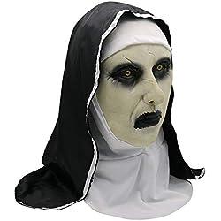 FZZFWM Espiritual 2 Monjas Máscara Halloween Fortnite Fortaleza Noche Horror Asustadizo Consternación Cara De Fantasma Femenina Tricky Party Supplies,B