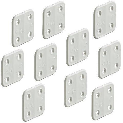 10 Stück - GedoTec® Kunststoff-Scharnier gelenklos weiß   Möbelscharnier 40 x 40 mm   Boot & Caravan-Scharnier aus widerstandsfähiges Polypropylen   Markenqualität für Ihren Wohnbereich