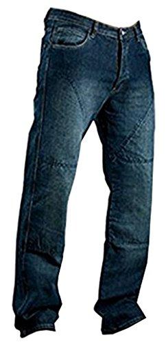 Juicy Trendz Herren Motorradrüstung Biker Motorrad Denim Hose Jeans Horn Blau