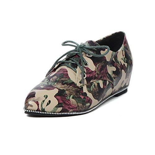 AllhqFashion Damen Schnüren Pu Spitz Zehe Niedriger Absatz Gemischte Farbe Pumps Schuhe Grün