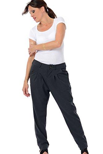 Chino Hose Damen / Business Designer Hosen Frauen in grau , Bundfaltenhose, 38