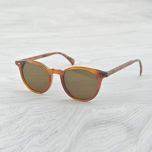LKVNHP Hochwertige Vintage Sonnenbrille Frauen Brille Markendesigner Polarisierte Sonnenbrille Männlich Weiblich Oval Runde Sonnenbrille MännerBernstein Gegen Braun