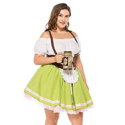 NEEKY Damen Oktoberfest große Größe Magd Kostüm Kleid FaschingskostüMe(XL,Grün) -