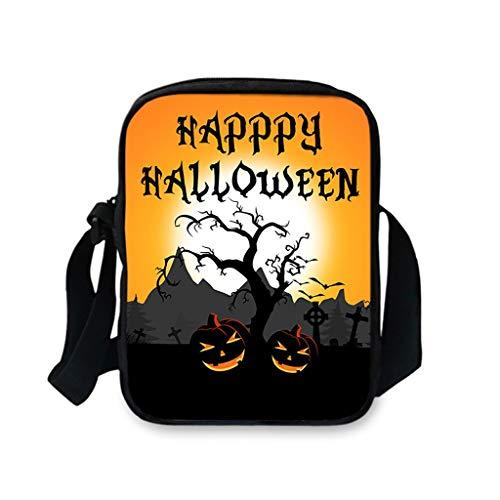 Feytuo Rucksack Männer und Frauen Halloween Kürbis Muster Umhängetasche Casual Messenger Bag