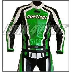 4LIMIT Sports 200100000604 Traje para Moto de Cuero, Verde / Negro / Blanco, M