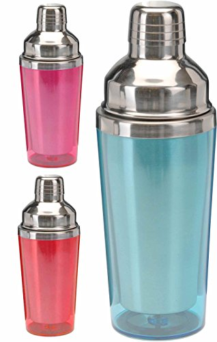 Cocktailshaker / Cocktail Mixer aus Edelstahl mit farbiger Kunststoff Antifrost-Ummantelung, 500 ml (Blau)