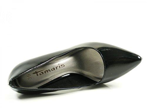 Tamaris 22447, Scarpe con Tacco Donna, Blau, 36 EU Nero (Black Patent)