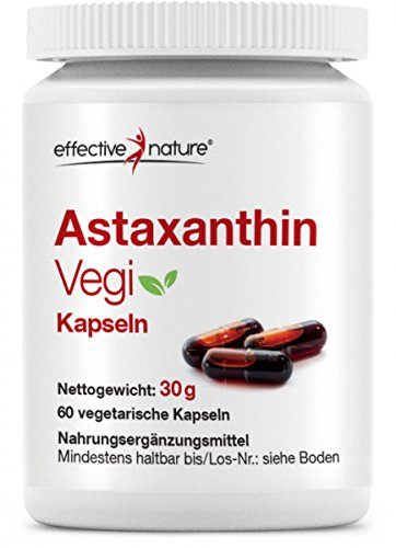 Effective nature Astaxanthin Vegi - Mit Vitamin C und E| Aus kontrollierter Algenkultur in Schweden | 8mg Astaxanthin pro Tagesdosis | Reicht für 60 Tage | Natürliches Astaxanthin | 60 Kapseln