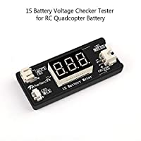 Goolsky 1S LiPo Battery Voltage Checker Tester for Drone Quadcopter Battery with JST MCX PH 2.0 and Micro Losi Cable