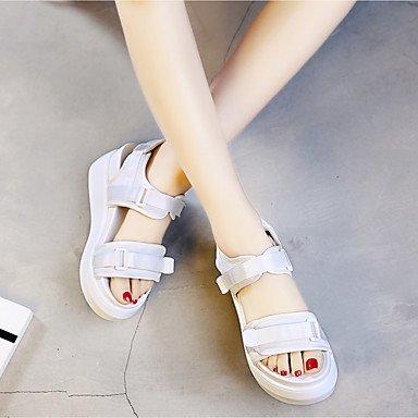 RUGAI-UE Sommer Mode Frauen Sandalen Schuhe Casual PU Komfort Fersen, Hellblau, US 6 / EU 36/UK4/CN 36 White