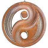 CIM Edelrost Windspiel - inkl. Kugellagerwirbel, Haken und Nylonschnur - attraktive Rost Dekoration (Yin Yang)