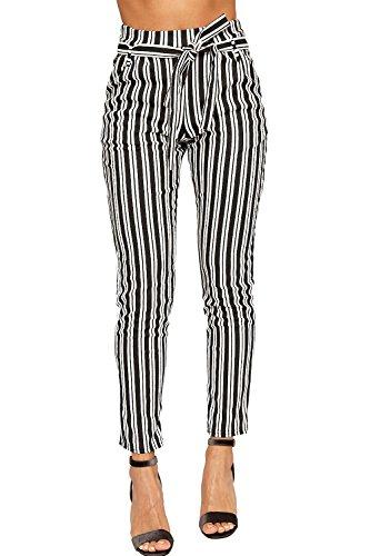 Wearall - Damen Einfarbig Gestreift Belted Tasche Krepp Damen Dünn Bein Hose - Schwarz Weiß - 40 (Hosen Gestreifte Hose)