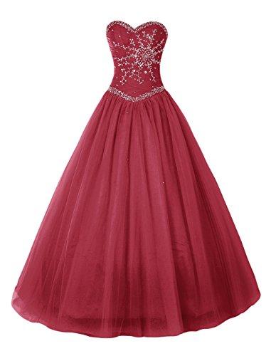 Bbonlinedress Robe de cérémonie Robe de soirée forme marquise emperlée en tulle longueur ras du sol Rouge Foncé