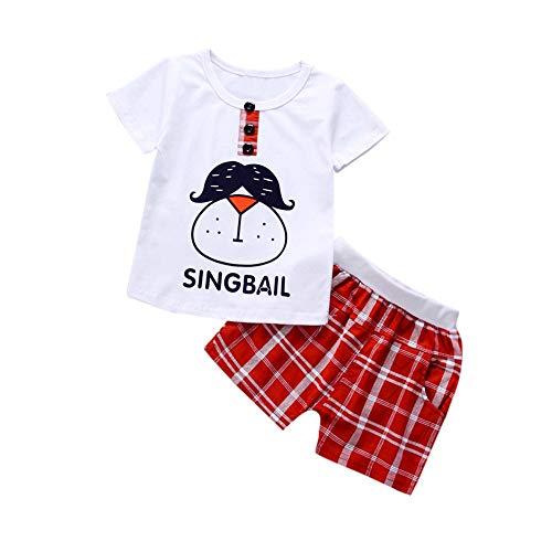 1-4 Jahre Alter Babyanzug/Baby Junge Kurzarm Cartoon Tops Lose Karierte Shorts Anzug Kinder Zweiteilig(Rot,24M)