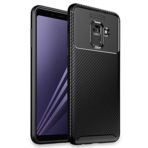 NALIA Hülle kompatibel mit Samsung Galaxy A8 (2018), Slim Silikon Case Cover Etui Handyhülle, Dünnes Soft Skin Phone Schutzhülle Stoßfeste Handy-Tasche Backcover Bumper Smartphone - Schwarz