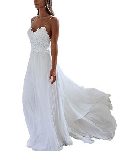 APXPF Damen Eine Linie Spaghetti-Trägern Chiffon Strand Klassisches Hochzeitskleid für die Braut...