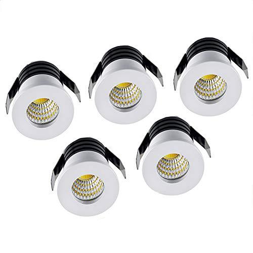 Midore - 5 mini spots blancs LED encastrables en aluminium - 3 w - Avec convertisseur downlight encastré