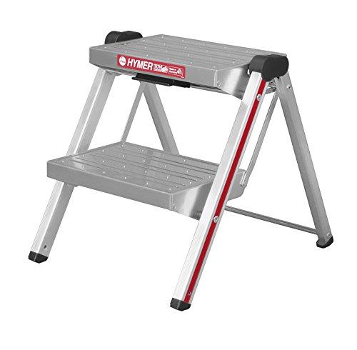 Hymer 603002 - Escabel plegable (aluminio, 2 peldaños a cada lado)
