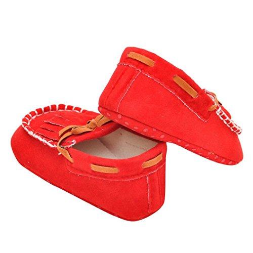 Hunpta Babyschuhe Mädchen Jungen Lauflernschuhe Neugeborenes Baby Kinder Tassel Prewalker Bowknot weiche Sohle Schuhe (11, Navy) Rot
