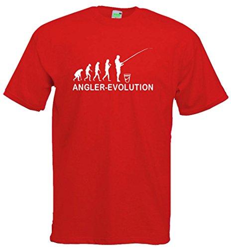 Angler Evolution T-Shirt | Angel-Sport Verein Angeln Fischen Fischer | Premiumshirt von Bimaxx® Rot