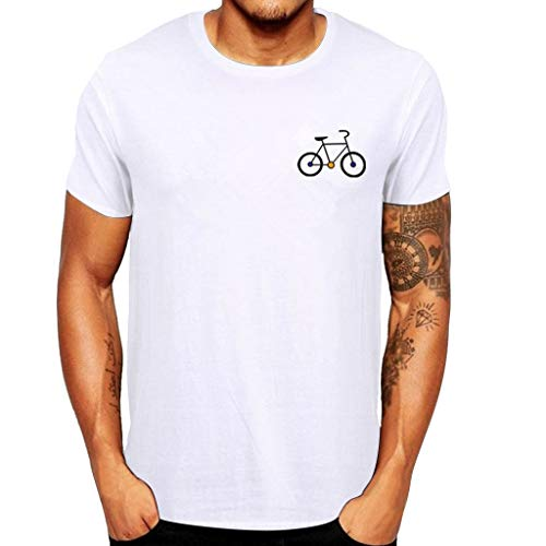 Manga Corta Camiseta Hombres Nuevo Verano Dibujos Animados Bicicleta Patrones Impresos Blusa Superior...