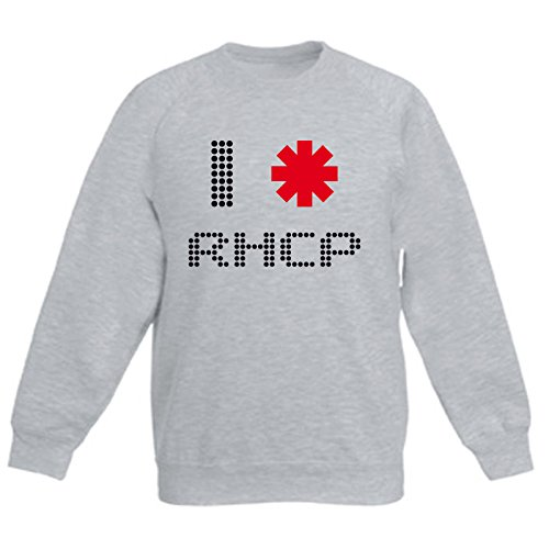 Art T-shirt, Felpa Raglan I Love Red Hot Chili Peppers, Bambino, Grigio, 14-15 Anni