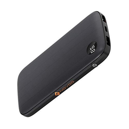 NOVOO Powerbank 10000mAh Externer Akku 3 Ausgänge 2 USB-A 2.4A Fast Charge & Typ C PD 18W (Output+Input) Schnellladefunktion für iPhone 8 X Samsung Galaxy S8 S7 Handy iPad Tragbar Ladegerät 10000