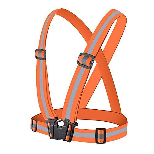 Miagon Reflektorweste Running Sicherheitsweste Fahrrad Warnweste Hohe Sichtbarkeit Reflektierende Sicherheitsweste Einstellbar Warnweste Leicht,Orange -