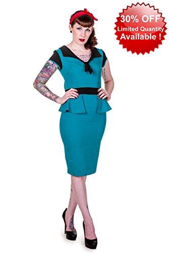 Gebannt Vintage Blue Retro-Bleistift-Kleid Blue
