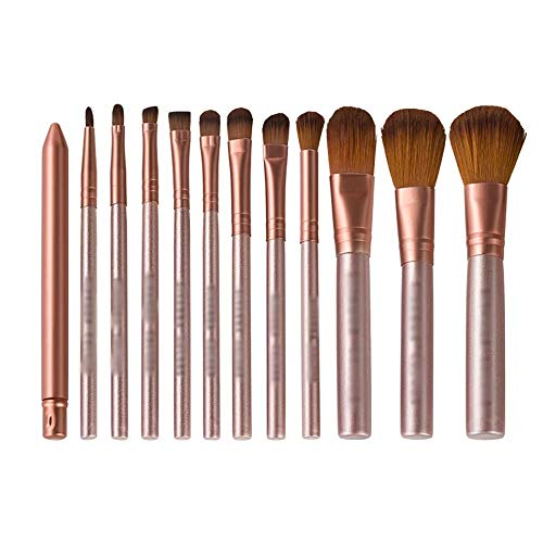 Pinceaux de Maquillage, 12pcs Set de pinceaux de Maquillage avec Le Support Fondation Brush Pinceaux de Maquillage pour Les Yeux Brosse à Sourcils Set Complet