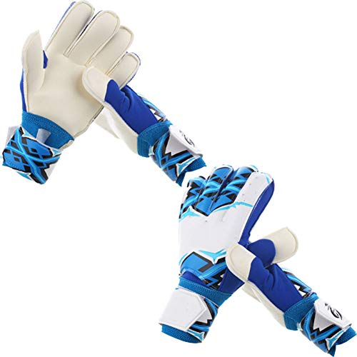 JHKJ Fußball Handschuhe Bambini Adulti Finger Finger Latex Guanti da Portiere da Calcio Antiscivolo Guantoni da Competizione,Blue-7(17-18cm)