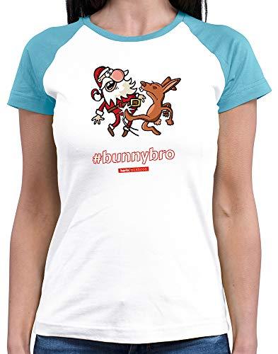 HARIZ  Damen Baseball Shirt Pixbros Bunnybro Xmas Weihnachten Liebe Plus Geschenkkarten White/Atoll Blue S