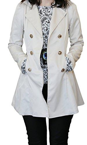 SodaCoda Frauen Sanduhr Trenchcoat - Frühling Sommer Herbst - Elegante Mantel Schöne Jacke - Beige - M/L