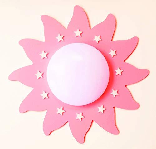 (Funnylight LED Kinder Lampe Deckenleuchte Du Soleil Rosa mit glow in the dark sternen- ein Fröhliche Sonne für das Baby und Kinderzimmer (Rosa) (Rosa))