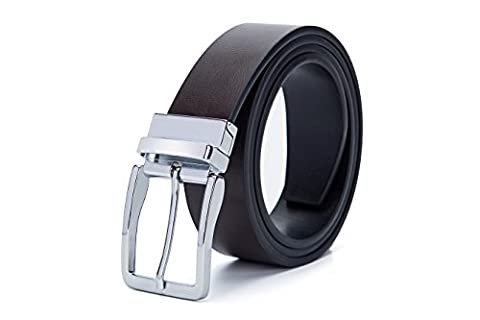 Fine Men's Dress Top Leather Reversible Belt-Classic Designs-Removable Buckle (30-44inch, Dark brown(Silvery